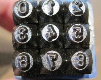 NUMBER Stamping Set - Block/Gothic Font - 1/8 inch or 3mm  - includes metal practice sheet how-to instructions