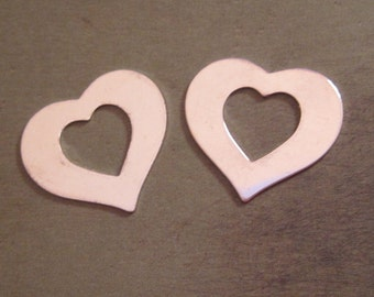Heart Washers - NICKEL SILVER  - Quantity 2 - 7/8 inch X 1/2 inch - perfect for metal letter stamping