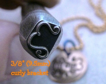 Big Design Stamp - CURLY BRACKET by WonderStruck Studios - new size - 3/8 inch (9.5mm) -includes How to Stamp Metal tutorial