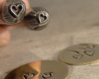 teeny tiny Design Stamp - HEART - design is 2mm X 3mm - includes How to Stamp Metal tutorial