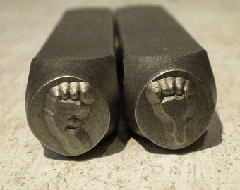 Big Design Stamps - Baby Footprints by ImpressArt - Left and Right -  3/8 inch (9.5mm)
