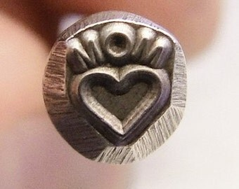 Design Stamp - MOM with HEART - includes How to Stamp Metal tutorial - this is perfect for Mothers Day