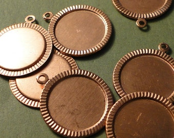 COPPER BEVELED CIRCLES - Decorative Edging - 24g - 3/4 inch (19mm)- Quantity 3 - perfect for metal letter stamping