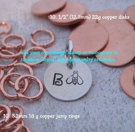 20 piece JEWELRY TAG Kit - COPPER - put a brand on your hand stamped jewelry - includes Tuturial for stamping metal