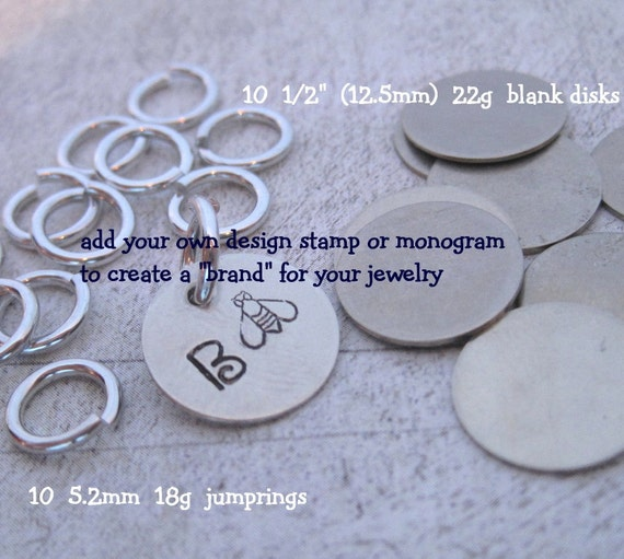 20 piece JEWELRY TAG KIT - Nickel Silver - put a brand on your hand stamped jewelry - includes tutorial for stamping metal