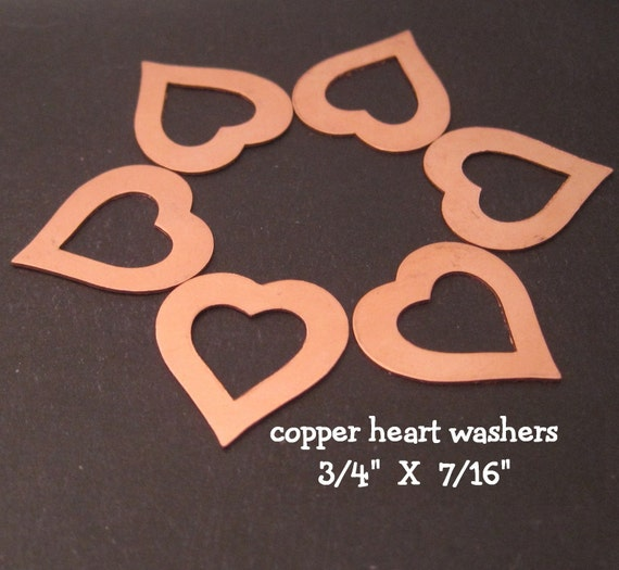 COPPER HEART WASHERS - 24g - 3/4 inch (18.75mm) X 7/16 inch (12mm) - perfect for metal letter stamping