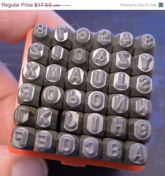 Letter stamps on sale UPPERCASE Steel Stamping Set - 1/8 inch - Block/Gothic Letters and Numbers - Economy set - includes metal practice sh