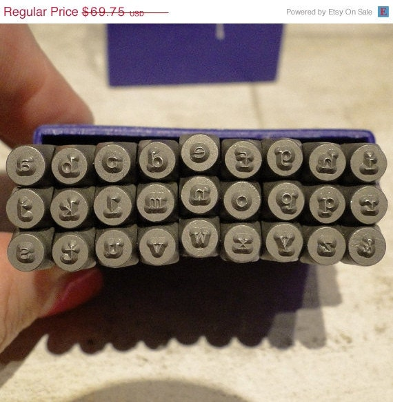 TYPEWRITER - LOWERCASE steel letter stamps - 5/64 inch (2mm) size letters with an ampersand