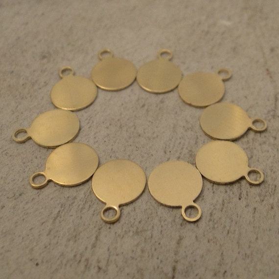 ROUND TAGS - 14k/20 GoLD-Filled - 9.9mm with ring - put a brand on your hand stamped jewelry