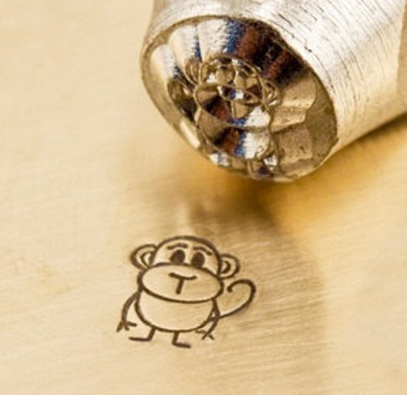 Design Stamp - BONGO the MONKEY - 6mm stamped image by ImpressArt -  includes How to Stamp Metal tutorial