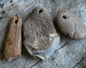 EARTHLY STONES...6 hand drilled beach stones, unusual finds