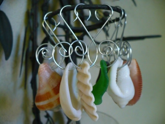 NATURAL ELEMENTS...10 sea glass, beach stone and shell ornaments
