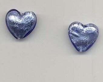 2 Blue 18 mm Heart Beads Venetian Glass
