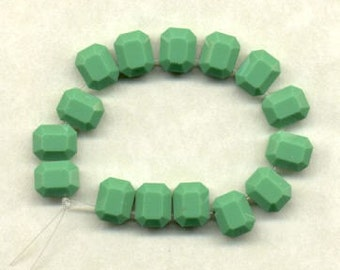 15 Vintage Opaque Green Swarovski  Small 8 x 6.5mm  Beads