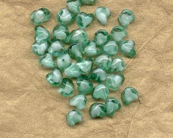 25 Vintage German Glass Green Baroque Beads 10 mm