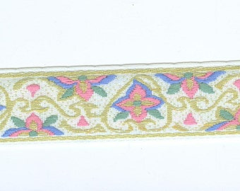 White Pastel  Woven Silky Ribbon Trim 3 Yards 2 Pieces
