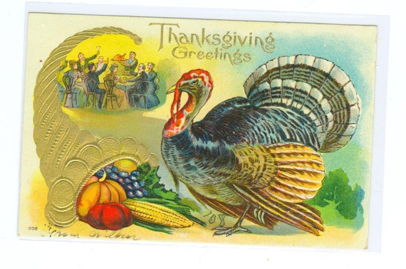 Thanksgiving Post Card Embossed Turkey and Cornucopia Used Early 1900s