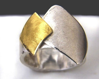 Gold Keum-Boo ring with silver argentium base