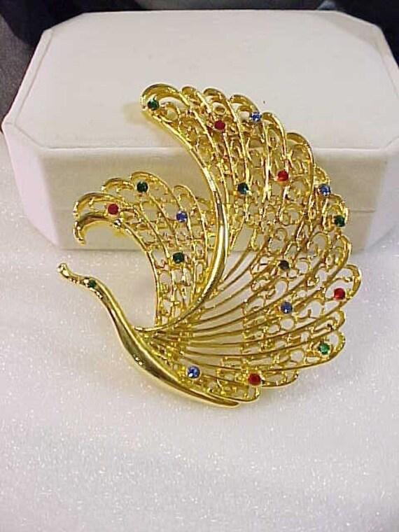 Swan Or Peacock Rhinestone Brooch