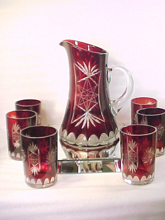 Vintage Bohemian Cranberry Ruby Red Cut To Clear Pitcher Glass