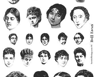 Doll Faces (unmounted rubber stamps)