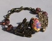 Vintage Pink Fire Opal / Harlequin Jewel Bracelet