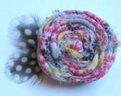 Rosette Flower Hair Clip // Colorful Chiffon with Guinea Feathers