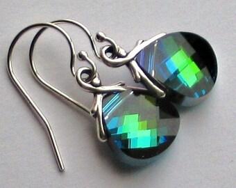 Aqua Sphinx Crystal Earrings and Sterling Silver