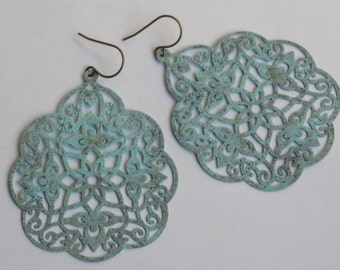 Large Hand Painted Robin's Egg Blue an Antiqued Brass Filigree Earrings
