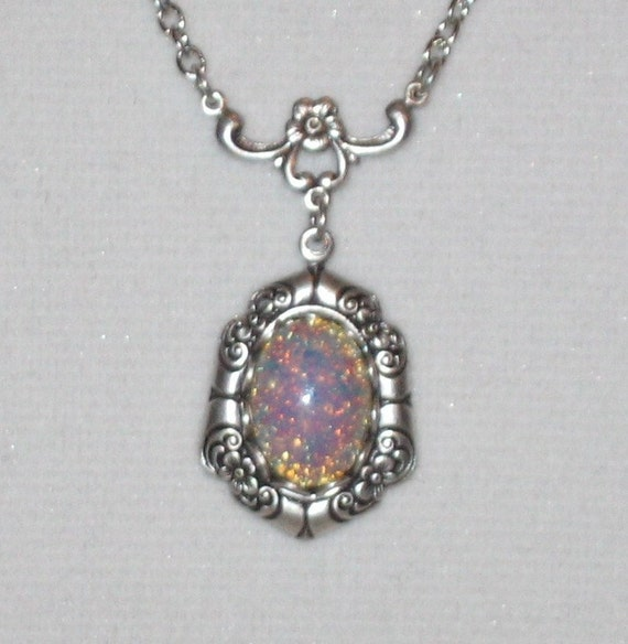 Vintage Fire Opal Necklace in Antiqued Silver