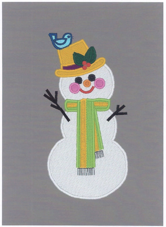 Machine Embroidery Design Christmas Winter Snowman For Brother 5 X 7