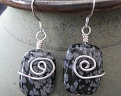 handmade snowflake obsidianand sterling silver swirl earrings