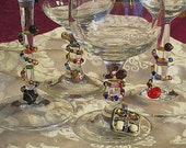 beaded pizzazzers wine glass charms with vintage repurposed jewelry