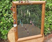 handmade upcycled hanging or standing earring organizer display frame