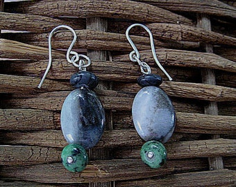 sterling silver handmade earrings with green turquoise blue gray amazonite and Picasso jasper natural gemstones