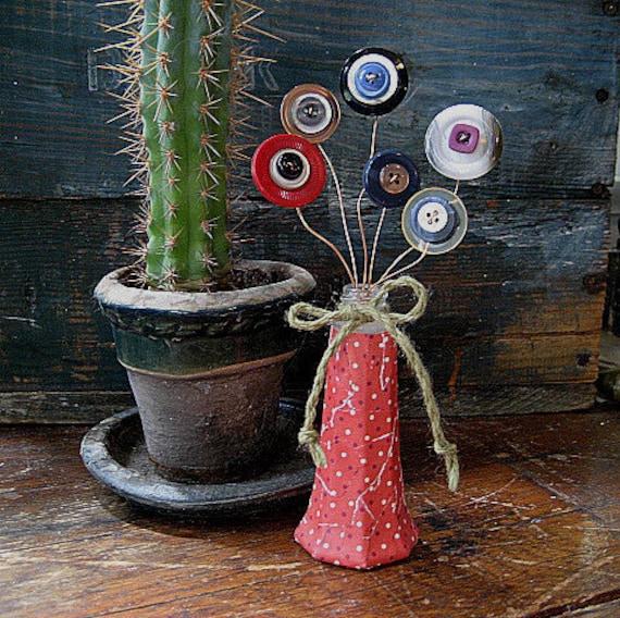 red polka dot shabby chic repurposed vase of vintage button flowers handmade