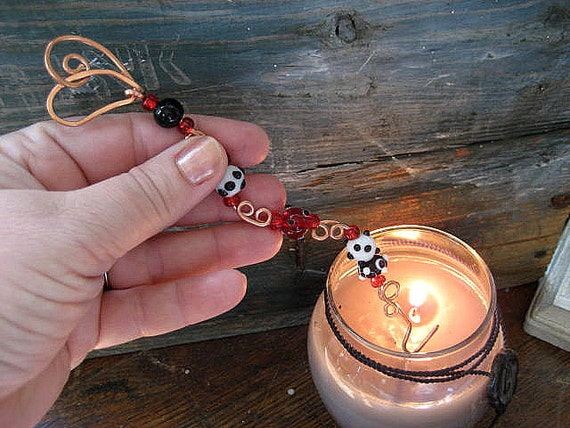 glass beaded copper heart candle snuffer Christmas ornament