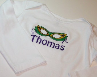 Mardi Gras Mask tee shirt or bodysuit with Name