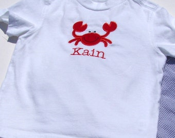 Personalized Tee Shirt with Red Crab Applique