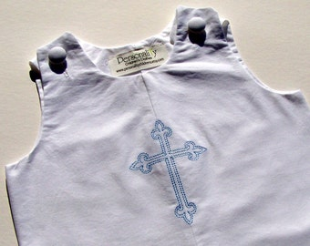 White Jon Jon with Cross for Baptisms and Baby Dedications Ready to Ship