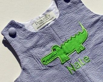 Alligator Seersucker Jon Jon with Name