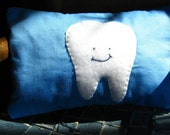Blue tooth fairy pillow with hand stitched fleece tooth.