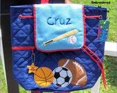 Sports Backpack,School Book bag, Toddler Backpack, Diaper Bag, Children's Monogramed Backpack, Backpack,School Bag