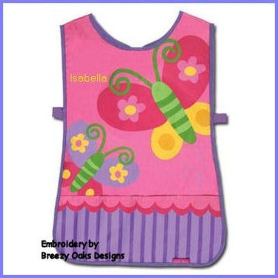 Personalized Stephen Joseph Butterfly Apron SmockPaint, Craft, Artist Apron, Childrens Craft Apron, Coverup, Washable, Art Apron,