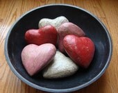 Primitive Cottage Chic Shabby Paper Mache Valentine's Day Hearts, red, pink and white, Large size