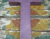 Purple Paper Mache Letter T, antiqued, 8 inches