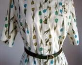 Vintage 1950s Tulip Floral Cotton Day Dress LARGE XL PLUS