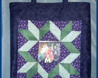 Handmade Stunning Quilt Block Photo Pocket Tote Bag