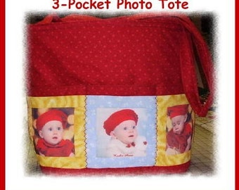 Handmade Customized 3-Pocket Imprinted Photo Tote Bag