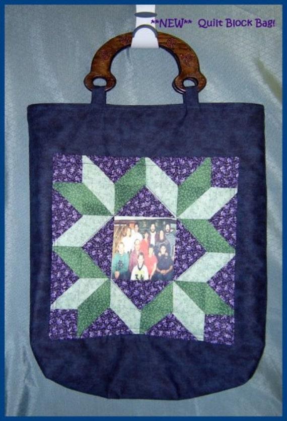 Handmade Stunning Quilt Block Photo Pocket Tote Bag